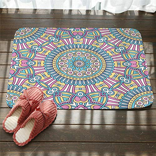 Doormats Flannel Floor Door Mat Non-Slip Colorful Mandala Floral Mats For Bedroom Headboard Foot Doormat Bathroom Living Room Kitchen Bedroom Home Decor Gift 50x80 Cm