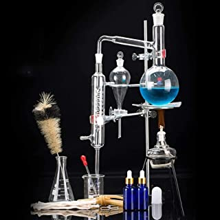 Sucastle 24 Piezas 500 ml Conjunto de Destilación Unidades Alambique destilador de Vidrio de Laboratorio Ciencia Industrial Purificación Niebla Puro Hecho de aceites Esenciales