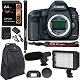 Canon 5D Mark III 22.3MP Full Frame CMOS 1080p HD Video Mode Digital SLR Camera Body, Polaroid 72' Monopod, Lexar 64GB SDXC, LED Lighting, Condenser Microphone, Polaroid Battery & Accessory Kit