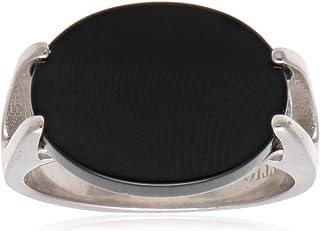 خاتم ملاكي من الفضة الاسترلينية مزين بحجر اسود للرجال من عتيق
