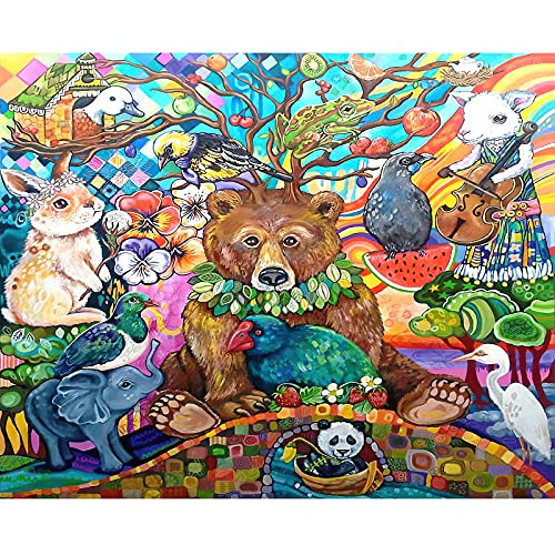 Paochocky Puzzle 1000 Teile für Erwachsene und Kinder ab 14 Jahren, mehrfarbiges Tier Puzzle Geschenk zum Geburtstag, Weihnachten(70x50cm)