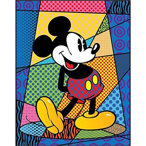 DIY 5D Diamante Pintura Kits, Kit de Pintura de Diamantes 5D Mickey Mouse Diamond Painting Completo Bordado Punto de Cruz Craft para Home Decoración de la Pared-Round Drill,80x100cm E3550
