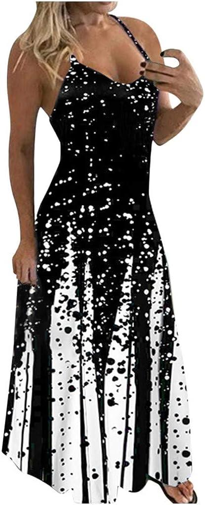 Tavorpt Summer Dresses for Women Maxi Sleeveless Sexy Deep V Ruffled Casual Sundress Beach Party Split Cami Long Dress