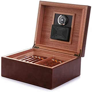 MEGACRA Desktop Cigar Humidor, Cedar & Leather Cigar Storage Box Well Seal Design with Tray and Adjustable Divider, Glass ...