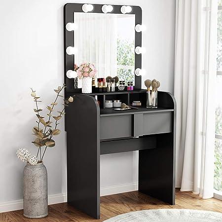 Tribesigns Vanity Set With Lighted Mirror Makeup Vanity Dressing Table Dresser Desk With Large Drawre For Bedroom Black 10 Warm Led Bulb Furniture Decor