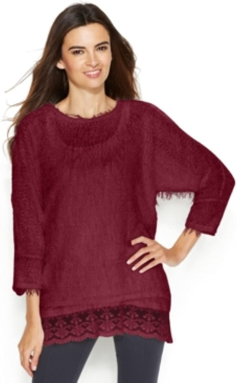 Alfani Women's Petite Fuzzy Sequined Sweater Camisole Set, Cranberry, PM