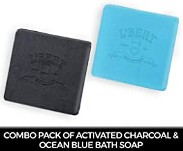 L'BERT Combo Pack of Activated Charcoal Soap & Ocean Blue Soap | 100% Natural Organic Handmade Bath Soap | Paraben & Sulphate Free - 200 g