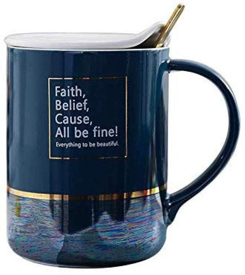 ZGQA-GQA スプーンでふた付き朝食カップティーコーヒーカップコップギフトオフィスカップ