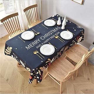 LMWB Bordsskydd, bordsduk, nyårsrektangulär bordsduk julbordsduk enkel soffbord vattentät och oljesäker blå_140 x 140 cm