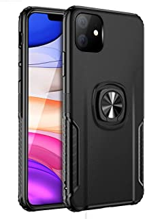 iDLike for iPhone 11 Case, Dual Layer Protective Shockproof Case Cover with 360 Degree Rotation Ring Grip Kickstand [Work with Magnetic Car Mount] for iPhone 11 6.1 inch 2019,Black