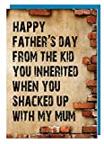 Funny Humour Father's Day Card for Step-dad (Brick Design) - Happy Fathers Day from The Kid You Inherited When You Shacked Up with My Mum