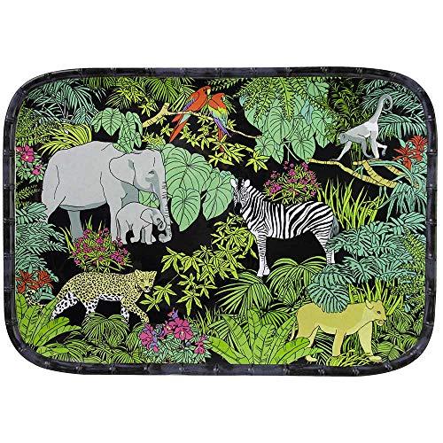 Les Jardins de la Comtesse - Grand Plateau en Mélamine Pure Noir/Vert - Grand Plateau de Présentation du Service de Table Jungle - Collection Vaisselle MelARTmine - 45x32 cm