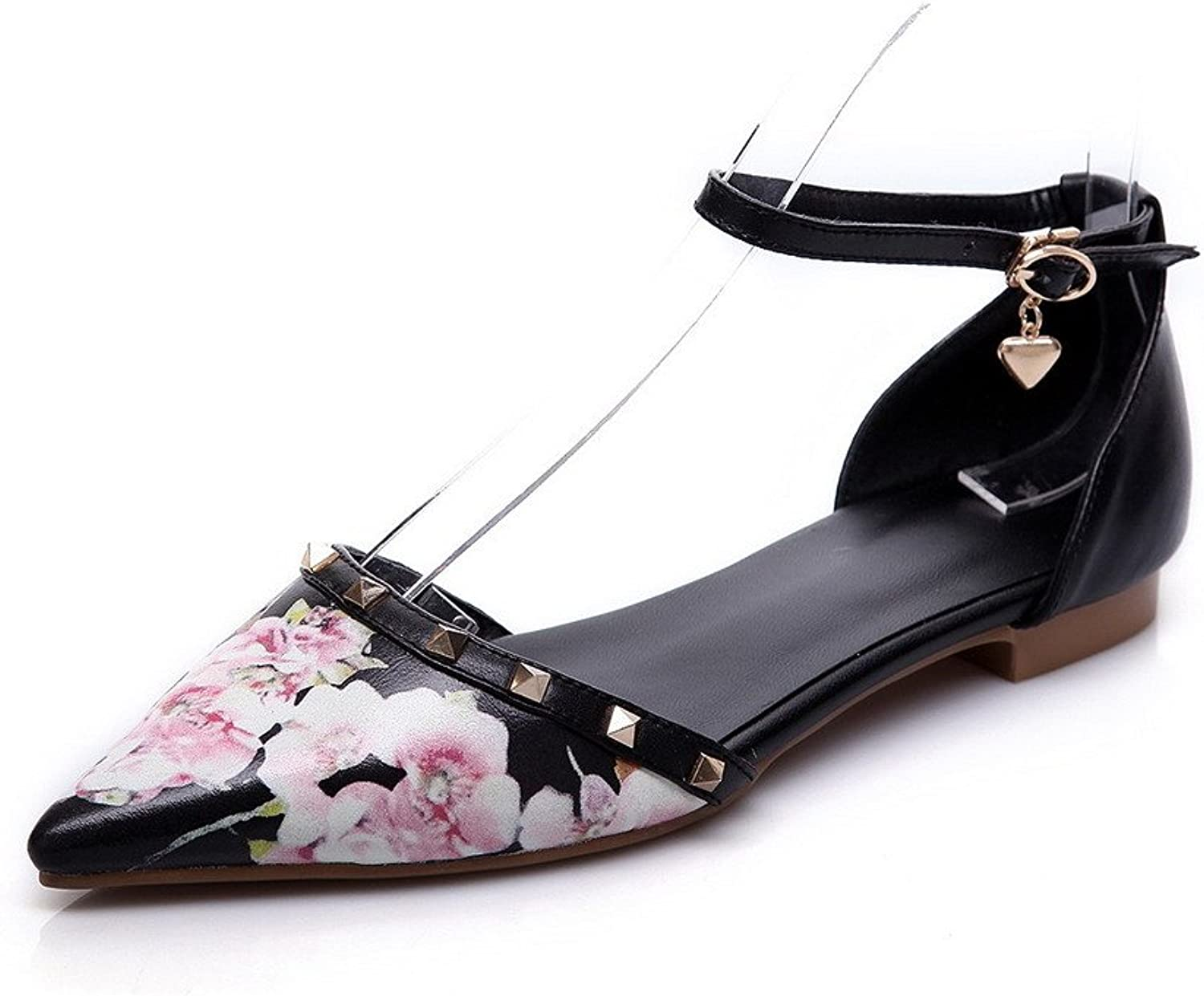 AllhqFashion Women's Pointed Closed Toe Cow Leather No Heel Solid Sandals with Printing