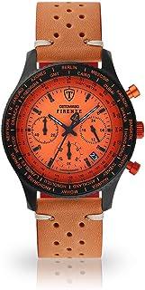 DETOMASO Firenze Mens Watch Chronograph Analogue Quartz Brown Racing Vintage Leather Bracelet Orange Dial SL1624C-OR-843