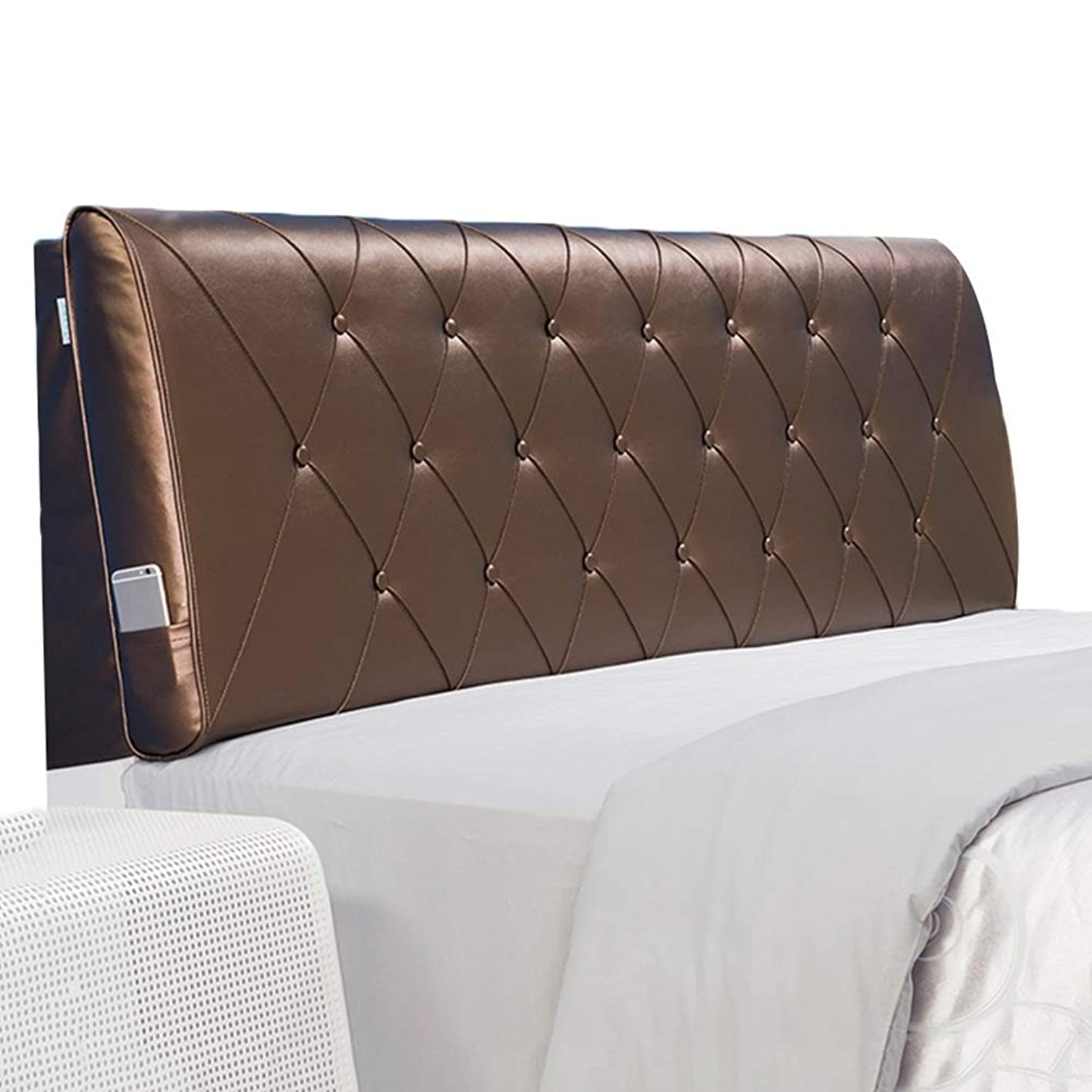 火曜日狂乱迷信WZBヘッドボードクッション衝突防止枕環境に優しいPUスポンジがウエストを保護、5サイズ、4色(色:ブラウン、サイズ:200x60x11cm)