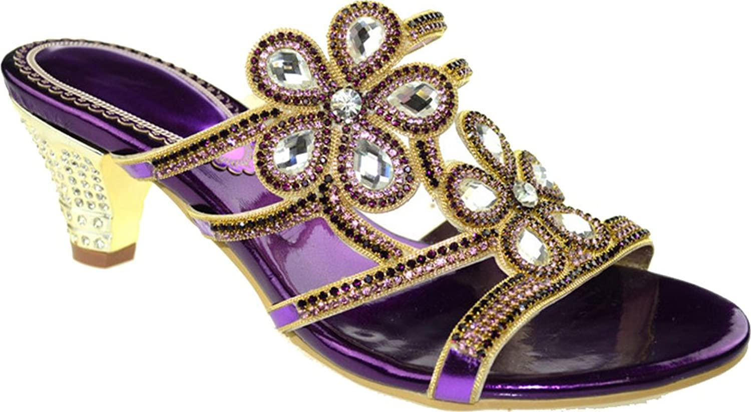 Vimedea Womens Purple Slippers Wedding Bride Party Prom Job Rhinestone Mid Heel Slip on Open Toe Sandals T016