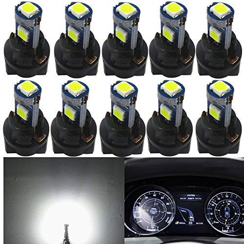 WLJH Lot de 10 ampoules T5 74 37 3030SMD blanches pour tableau de bord, compteur de vitesse, compteur de vitesse