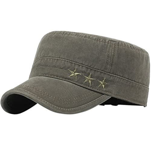 efcedc7512f76 Men's Cotton Flat Top Peaked Baseball Twill Army Military Corps Hat Cap  Visor