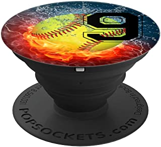 Cool Softball Fire and Ice Player #9 Gift Design Girls Team - PopSockets Grip and Stand for Phones and Tablets