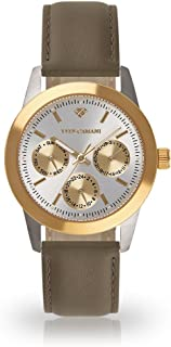 YVES CAMANI Madelaine Women's Wrist Watch Quartz Analog Gold Silver Stainless Steel Case Silver Dial
