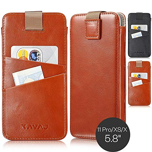 KAVAJ Case Compatible With Apple iPhone 11 Pro/XS/X 5.8' Leather - Miami - Cognac Brown Wallet Cover Phone Case with card holder