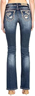 Women's Mid Rise Chloe Boot Jeans with Embroidered Pockets