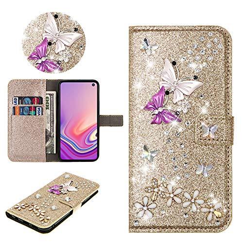 SEEYA Hülle Glitzer für Samsung Galaxy S20 FE, PU Leder Handyhülle Gold Glänzend Schmetterling Blumen Klapphülle Magnet Brieftasche Schutzhülle Flip Cover Tasche für Samsung Galaxy S20 Lite