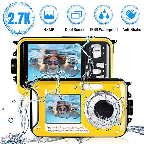Lincom Unterwasserkamera Unterwasser Kamera 2.7K Full HD 48.0 MP Kamera Wasserdicht Selfie Dual Screens Flash Light Digitalkamera zum Schnorcheln