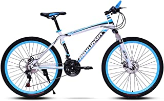 山地越野自行车,21速变速自行车,24/26英寸轮圈,双盘式制动器可吸收冲击,男女均可使用,White blue,26 inches