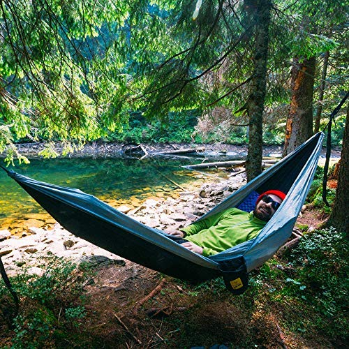 610G0qNutvL - Wise Owl Outfitters Hammock for Camping Single & Double Hammocks Gear for The Outdoors Backpacking Survival or Travel - Portable Lightweight Parachute Nylon SO Black & Grey