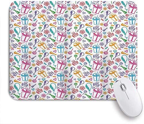 MUYIXUAN Mauspad - Coole Geburtstag bunte Skizze von Luftballons Blumen präsentiert und Kuchen mehrfarbig - Gaming und Office rutschfeste Gummibasis Mauspads,240×200×3mm