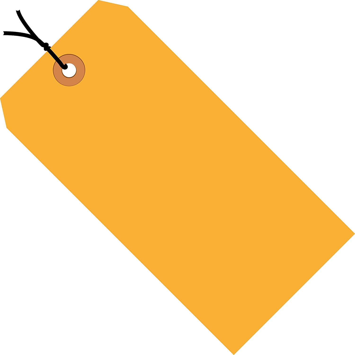 Fluorescent Orange Shipping Tags, Strung, 13 Pt, 2 3/4