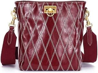 Fashion New Retro Casual Fashion Bills Shoulder Slung Large Capacity Women's Bag Leather Handbag (Color : Red)