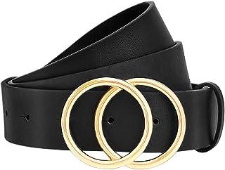 WONDAY Women Leather Belt-Womens Jeans Belt-Women Pants Belt-Dress Belt, Ladies Skinny Leather Belts with Alloy