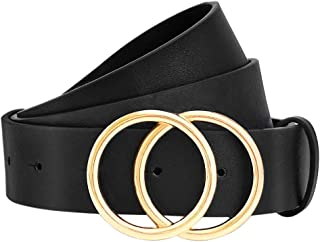 Women Leather Belt, Geniue Leather Cute Ladies Belt for Jeans Dress Pants with Fashion O-Ring Buckle