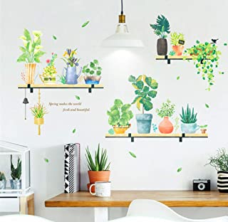 Veger Potted Green Plants Wall Decal Removable Flower Mural Decals DIY Bonsai Shelf Murals Wallpaper Decorative for Living Room Window Shop Showcase Kids Room Decor