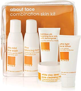 LATHER About Face Combination Skin Care Kit – travel friendly skin care kit contains everything needed to banish dirt and oil while hydrating where you need it, leaving skin in optimum balance