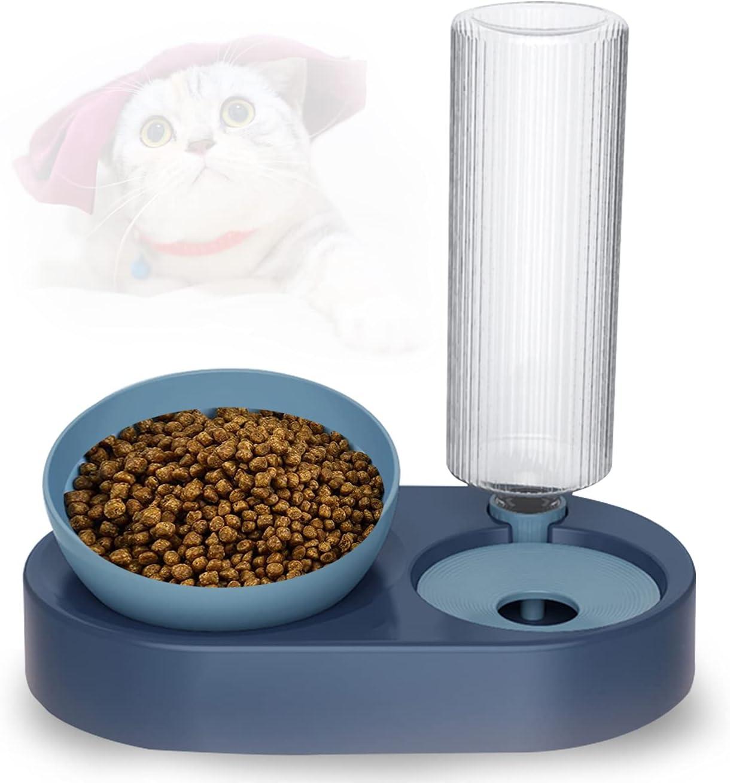 Comedero Gato,Cuenco Doble para Mascotas,15°Inclinación Comedero para Perro Gato,Proteger la Columna Vertebral,con Botella para Beber,para Perros Pequeños o Medianos Gatos