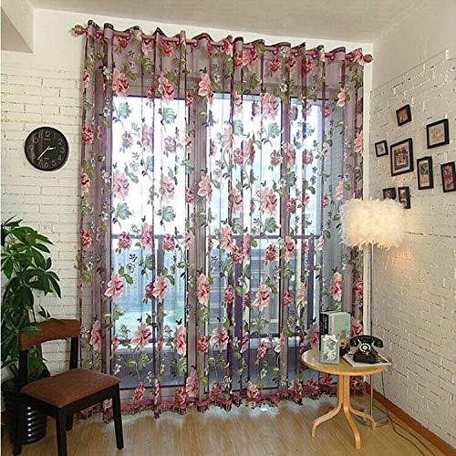 YAHLSEN Klassische Tulle Rotten Blumen-Vorhang-Fenster-Dekoration, Größe: 100x250cm Punch (Purple) Q (Color : Purple with Bead)