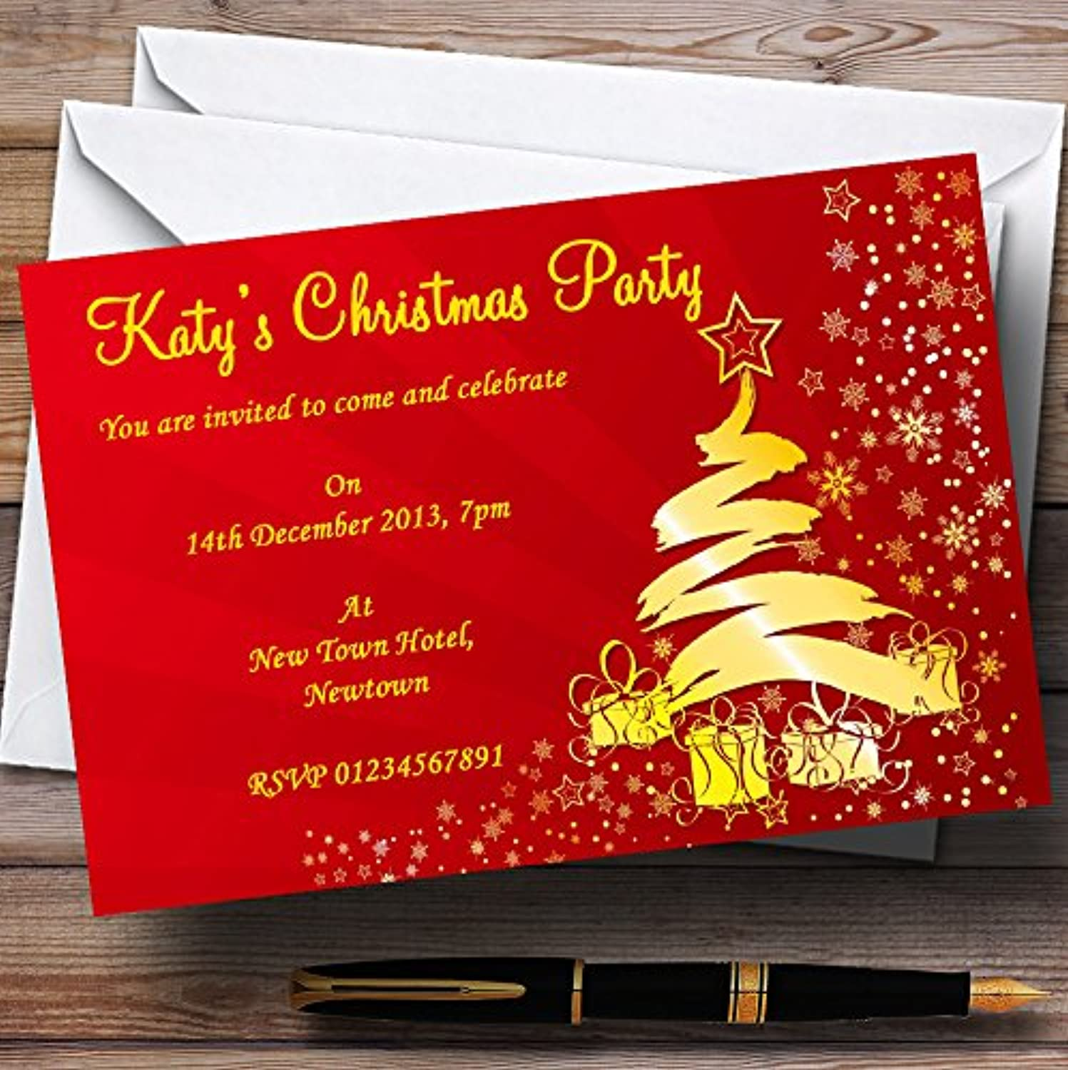 Red & gold Personalised Christmas   New Year   Holiday Party Invitations   Invites & Envelopes