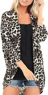 TIANMI Womens Leopard Print Cardigan Fashion Half Sleeve Coat Casual Asymmetrical Hem Loose Long Cover Coat