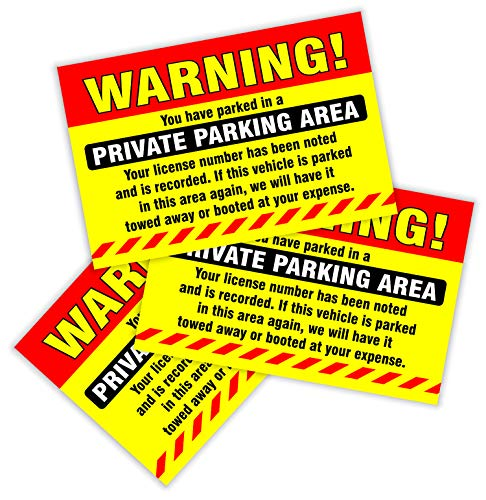 """Private Parking Stickers (Pack of 50) Reserved No Permit Area Violation Warning Notice Vehicle is Illegally Parked - Large Size 6"""" X 9"""" – Yellow Photo #8"""