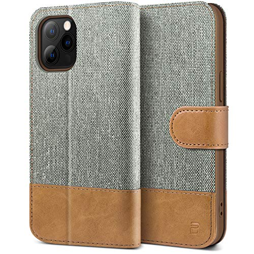 BEZ Handyhülle für iPhone 12 Hülle, iPhone 12 Pro Hülle, Tasche Kompatibel für iPhone 12, iPhone 12 Pro, Schutzhüllen aus Klappetui mit Kreditkartenhaltern, Ständer, Magnetverschluss, Grau