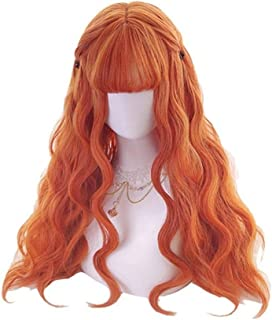 Long Orange Lolita Wigs Woman Hair Wavy Cosplay Wig Harajuku Wigs Heat Resistant Synthetic Hair YUXUJSA