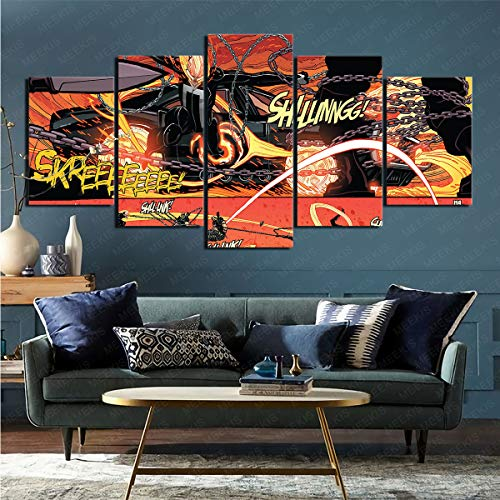 ZKSB Lienzo De 5 Piezas Comics Ghost Rider Suministros De Decoración Sala De Exposiciones Decoración De La Tienda Imágenes HD 100X50Cm Pintura Sin Marco