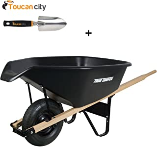 Toucan City 3 in. Softouch Hand Trowel and True Temper 6 cu. ft. EZ Pour Poly Wheelbarrow CP6PS