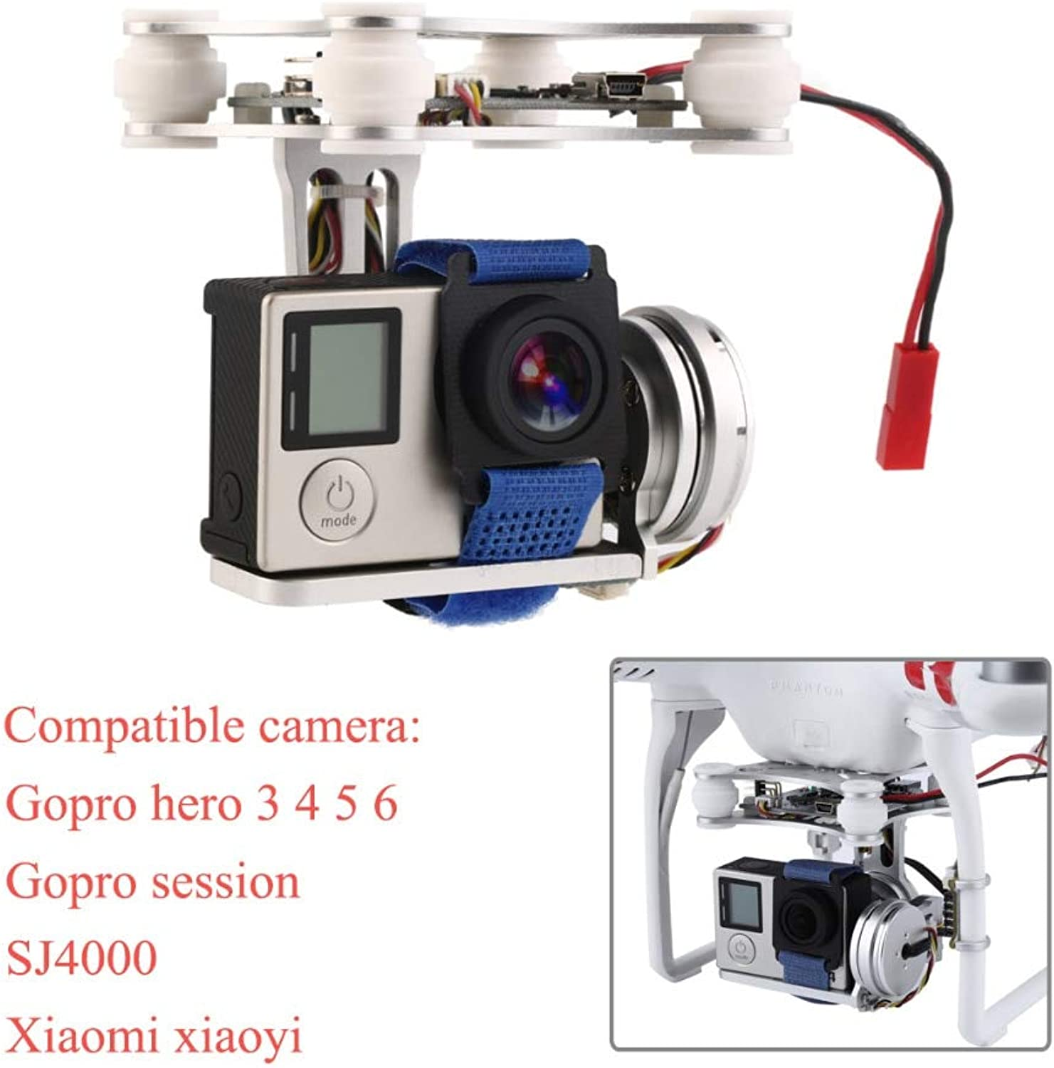Laliva Gopro3 4 5 6 Sj4000 Lightweight 2Axis Brushless Gimbal Frame with BGC Board 2804 140kv Motor for RC FPV Drone S500 S550 F450  (color  Silver)