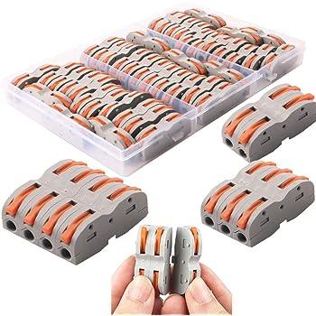 CESFONJER Lever-Nut Surtidas Conector, Bloque de Terminales de Barra de Presión Bilateral, Conductores de Surtido Conectores de Cable Compacto SPL-1 (Paquete de 42)
