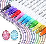 Rotuladores metálicos para delinear. Rotuladores Ohuhu de doble línea con 12 colores diferentes para escribir en tu diario, tarjetas de regalo, dibujar, colorear, etc.