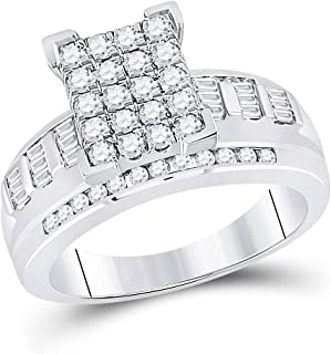 FB Jewels 10kt White Gold Womens Round Diamond Cluster Bridal Wedding Engagement Ring 7/8 Cttw Size 7